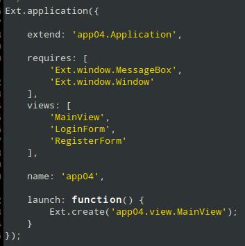 app.js Entry Point  Sencha ExtJS 6